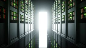 Intérieur de pièce de serveur dans le datacenter rendu 3d Photo libre de droits