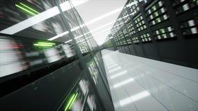 Intérieur de pièce de serveur dans le datacenter rendu 3d Image stock