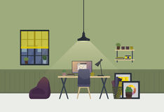 Intérieur de pièce spacieuse d'espace de travail dans la soirée Appartement ou appartement à la maison du travail avec la table e illustration de vecteur