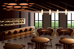 Intérieur de restaurant avec le regard industriel illustration stock