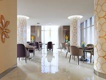 Intérieur de restaurant confortable Style contemporain de conception, endroit dinant moderne illustration de vecteur