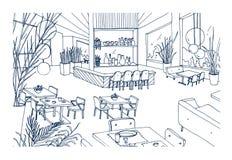 Intérieur de restaurant ou de Bistros avec l'ameublement moderne tiré par la main avec des découpes sur le fond blanc Dessin de d illustration stock