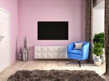 Intérieur de rose avec la chaise et les rideaux bruns illustration 3D Photos libres de droits