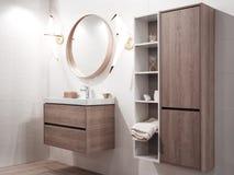 Intérieur de salle de bains avec l'évier et le robinet images stock