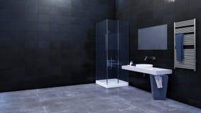 Intérieur de salle de bains avec l'espace de copie sur le mur carrelé 3D illustration stock