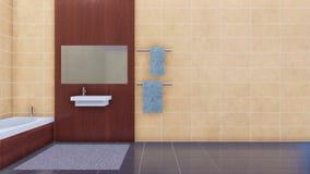 Intérieur de salle de bains avec le mur beige de tuiles de l'espace de copie banque de vidéos
