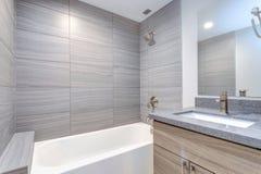 Intérieur de salle de bains moderne grise image stock