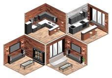 Intérieur de salle de séjour appartement de grenier avec le mur de briques Photo libre de droits