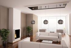 Intérieur de salle de séjour avec la cheminée 3d Image stock