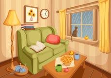 Intérieur de salle de séjour Illustration de vecteur Images stock