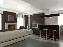 Intérieur de salle de séjour moderne Images libres de droits