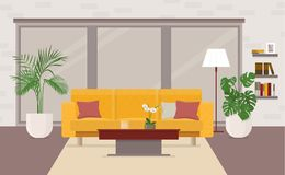 Intérieur de salon avec des meubles, fenêtre panoramique illustration stock