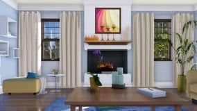 Intérieur de salon avec la cheminée à 4K de jour illustration stock