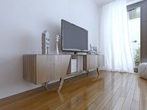 Intérieur de salon avec le grand affichage à cristaux liquides TV Photo libre de droits