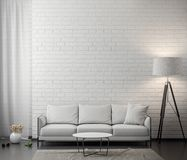 Intérieur de salon avec le mur de briques blanc, rendu 3D Photographie stock libre de droits