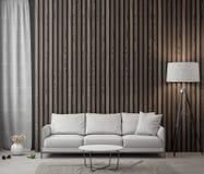 Intérieur de salon avec le mur en bois de planches, rendu 3D Images libres de droits