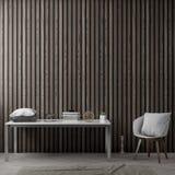 Intérieur de salon avec le mur en bois de planches, rendu 3D Photographie stock