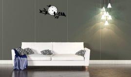 Intérieur de salon avec le sofa blanc et le mur foncé Photo libre de droits