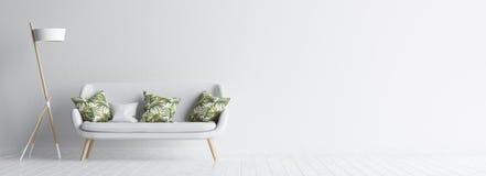 Intérieur de salon avec le sofa et la lampe blancs, moquerie blanche de mur vers le haut de fond Photos stock