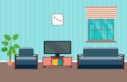 Intérieur de salon comprenant les meubles, la fenêtre, l'horloge, la plante d'intérieur et le home cinéma illustration stock