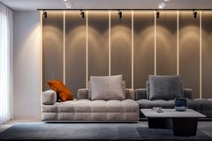 Intérieur de salon dans le style moderne, rendu 3D Photographie stock libre de droits