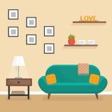 Intérieur de salon - illustration plate de vecteur de style Photographie stock libre de droits