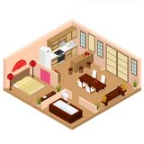 Intérieur de style japonais d'appartement avec la vue isométrique de meubles Vecteur illustration stock