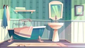 Intérieur de style de vintage de la Provence de vecteur de salle de bains illustration stock