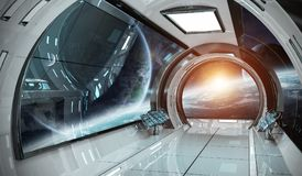 Intérieur de vaisseau spatial avec la vue sur des éléments de rendu des planètes 3D de illustration de vecteur