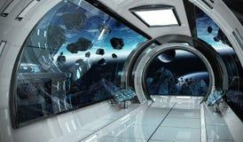 Intérieur de vaisseau spatial avec la vue sur des éléments de rendu de la terre 3D de t Photographie stock