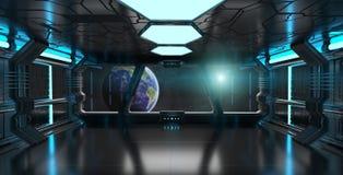 Intérieur de vaisseau spatial avec la vue sur la terre 3D de planète rendant l'EL Photographie stock libre de droits