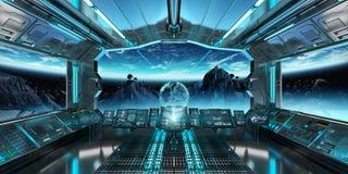 Intérieur de vaisseau spatial avec la vue sur la terre 3D de planète rendant l'EL Image stock