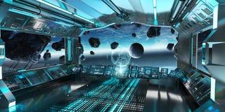 Intérieur de vaisseau spatial avec la vue sur la terre 3D de planète rendant l'EL Photo stock