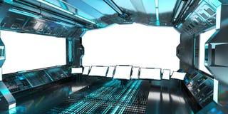 Intérieur de vaisseau spatial avec la vue sur le rendu blanc des fenêtres 3D illustration stock