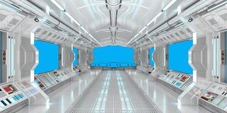 Intérieur de vaisseau spatial avec la vue sur le rendu bleu des fenêtres 3D Image stock