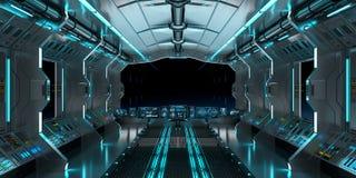 Intérieur de vaisseau spatial avec la vue sur le rendu noir de la fenêtre 3D Photos stock