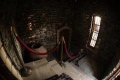 Intérieur de vieux manoir abandonné rampant Escalier et colonnade Escaliers foncés de château au sous-sol Escaliers fantasmagoriq photos stock