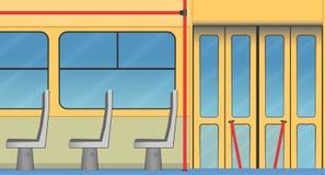 Intérieur de vieux tram Photos stock