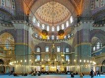 Intérieur de Yeni Mosque à Istanbul, Turquie Images libres de droits
