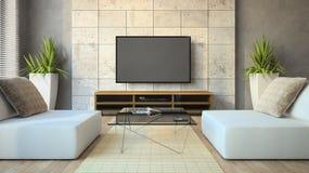 Intérieur du grenier moderne avec la table en verre Photo stock