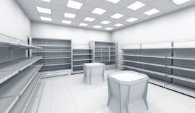 Intérieur du magasin avec les étagères vides Photo libre de droits