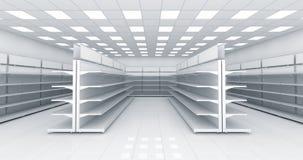 Intérieur du magasin avec les étagères vides Image stock