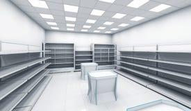 Intérieur du magasin avec les étagères vides Photographie stock