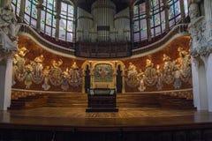 Intérieur du palais de la musique catalanne à Barcelone images libres de droits