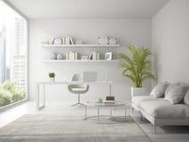 Intérieur du rendu blanc du bureau 3D de conception moderne Photos libres de droits