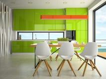Intérieur du rendu de la cuisine 3D de conception moderne Photos libres de droits