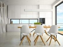 Intérieur du rendu de la cuisine 3D de conception moderne Image stock
