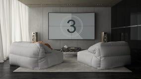 Intérieur du rendu de salle 3D de conception moderne Images stock