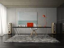 Intérieur du rendu moderne de salle 3D de bureau Photo libre de droits