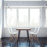 Intérieur du restaurant avec la table rendu 3d Photo libre de droits